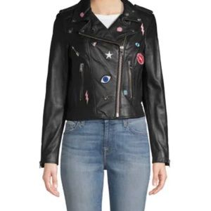 💕Lamarque Donna Rock Patches Leather Jacket💕